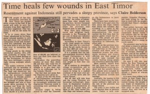 Time Heals Few Wounds in East Timor - Claire Bolderson - FT 7-11-90