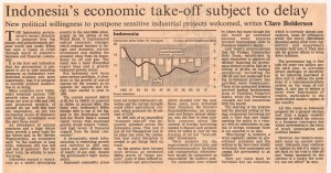 Indonesia's Economic Takeoff Subject to Delay - Claire Bolderson - FT 25-10-91