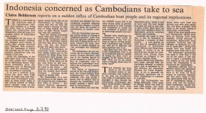Indonesia Concerned as Cambodians Take to Sea  - Claire Bolderson -FT 3-7-90