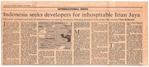 Indonesia Seeks Developers for Inhospitable Irian Jaya - Claire Bolderson - FT 1 10 1991